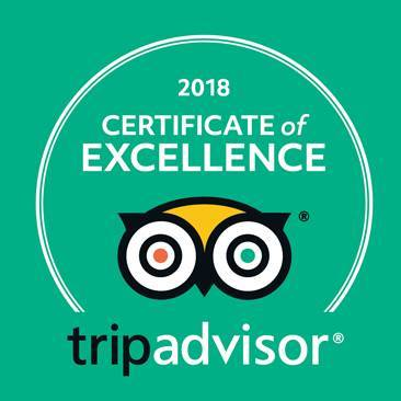 "Tripadvisor ""Certificate of Excellence"" 2018"
