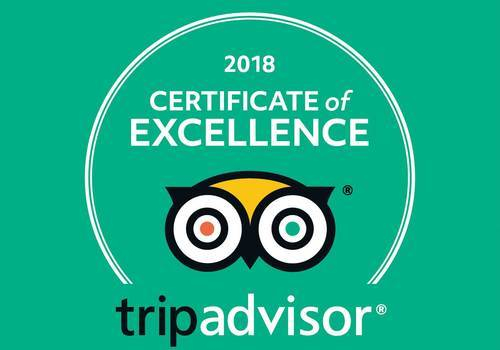 Achieved 2018 TripAdvisor Certificate of Excellence