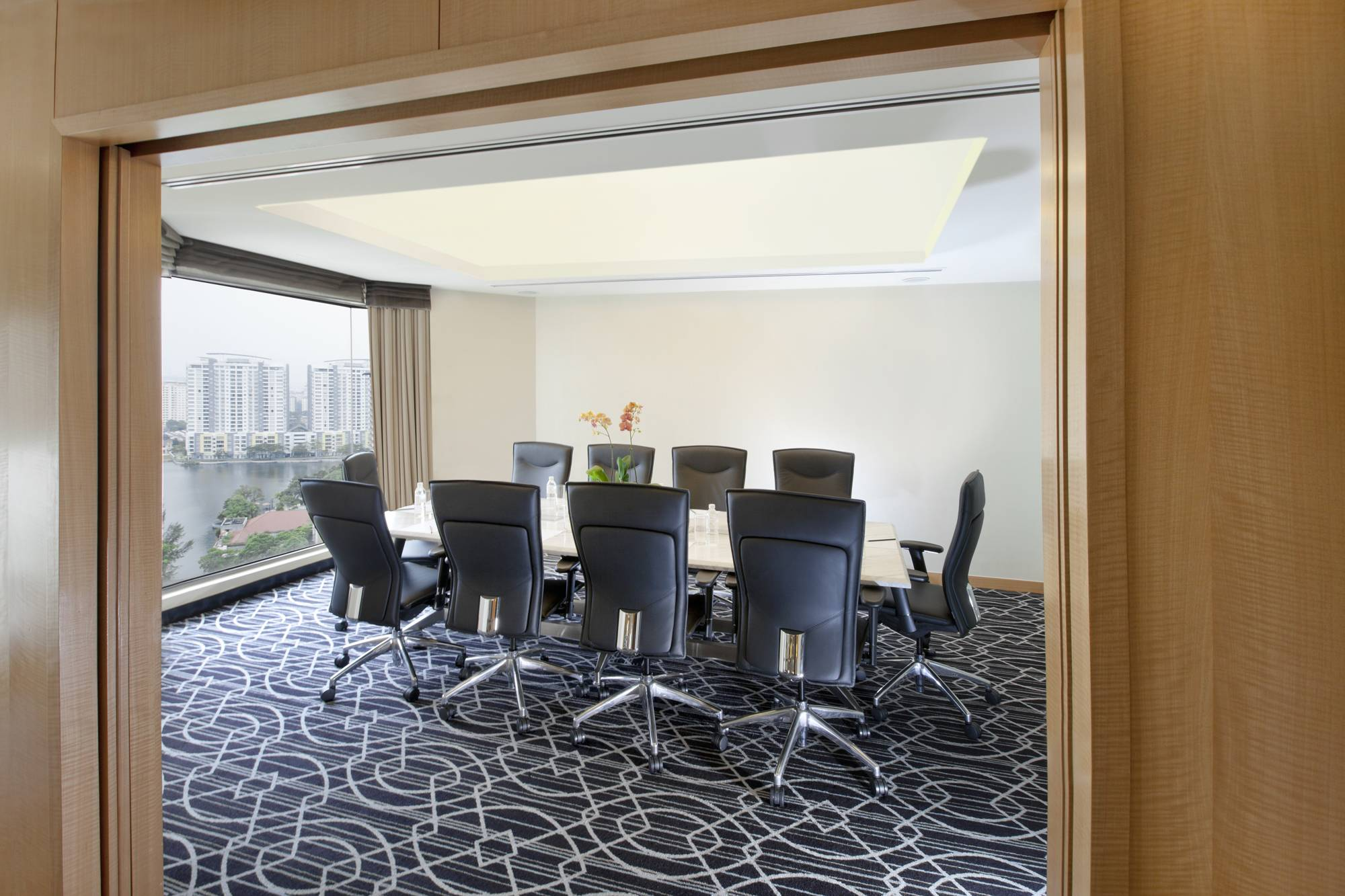 Spacious boardroom featuring stunning view