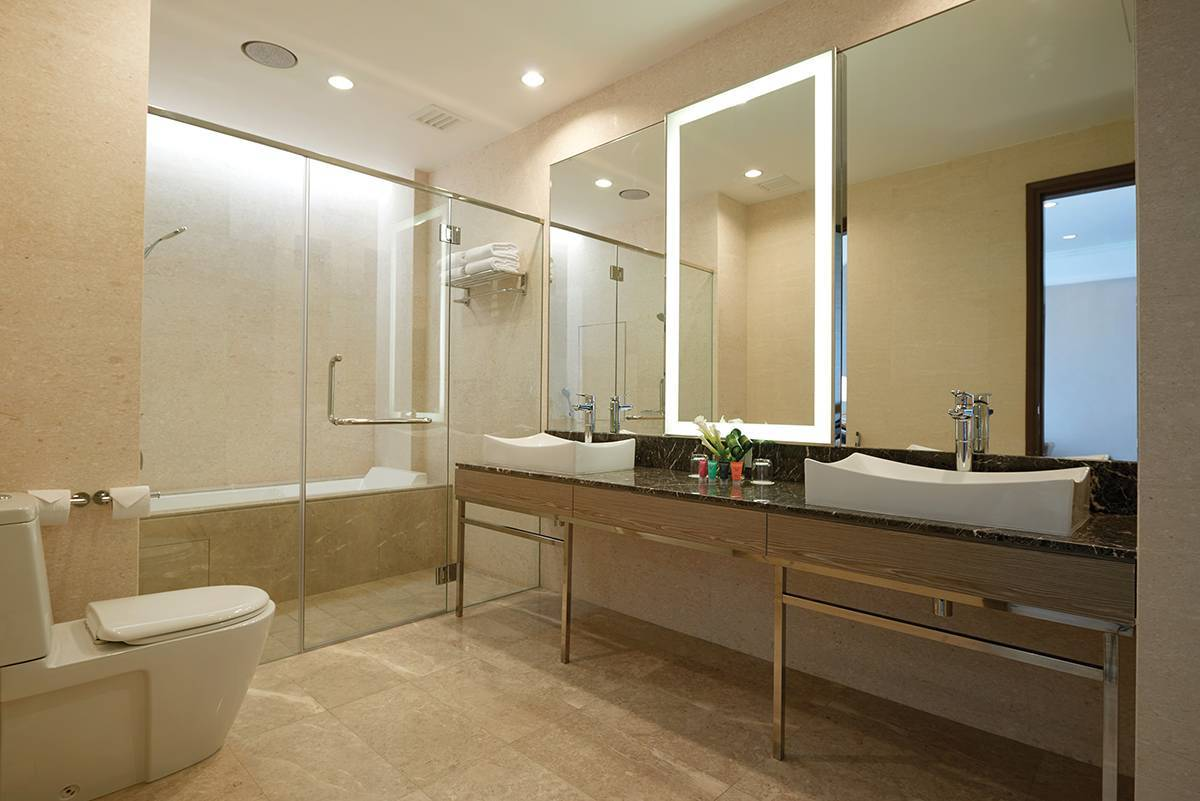 Studio Bathroom - Our large marble-clad bathroom in our Studio is perfectly formed.