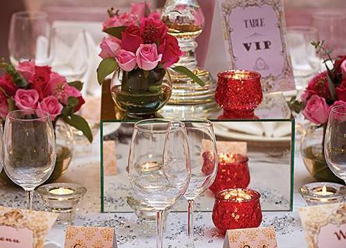 A well-appointed and elegantly decorated Western wedding table set up