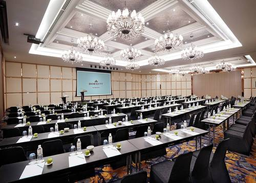 The Pillarless Satria Ballroom can be set up fishbone style