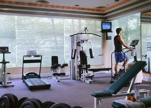 Gym - A well-equipped health and fitness club.